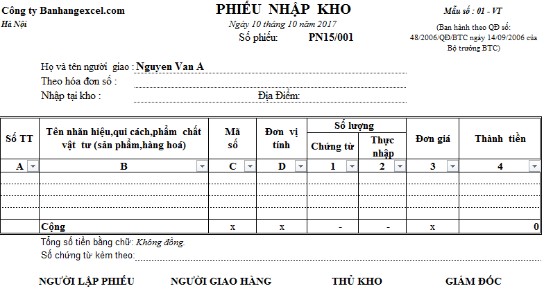 Mẫu phiếu nhập kho, xuất kho bằng Excel (Tải miễn phí)